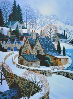 Super Home Illustration Country Ideas Art Painting, Americana Art, Naive Art, Painting, Whimsical Art, Art, Folk Art Painting, Winter Art, Landscape Art