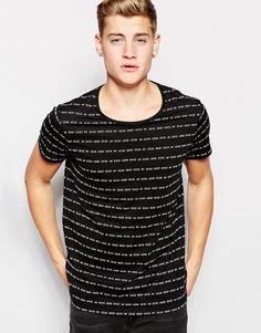 Cool Cheap Monday T-Shirt Cap Logo Stripe - Punk black Cheap Monday T-Shirts & Veste til Herrer til hverdag og til fest