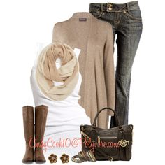 Jeans and Cardigan, created by cindycook10 on Polyvore