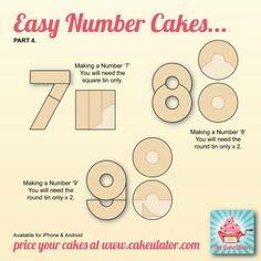How to create easy number cakes, no special tins required Cut cakes to make Number cakes 9th Birthday Cake, Number Birthday Cakes, Number Cakes, Birthday Numbers, 7 Cake, No Bake Cake, Cupcake Cakes, Shoe Cakes, Bowl Cake