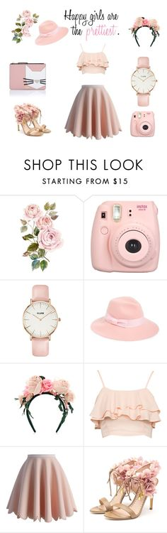 """Pinky Style"" by artasshine ❤ liked on Polyvore featuring moda, CLUSE, August Hat, MAISON MICHEL PARIS, Chicwish, Rupert Sanderson y Karl Lagerfeld"
