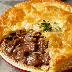 Steak Dark Ale And Stilton Pie Recipe Main Dishes with chuck steaks plain flour garlic thyme black peppercorns dark ale shallots vegemite puff pastry blue cheese celery s. Irish Recipes, Meat Recipes, Cooking Recipes, Russian Recipes, Slow Cooking, Curry Recipes, Recipies, Scottish Recipes, Quiche Recipes