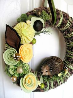 Hedgehog Wreath with whimsical forrest decor