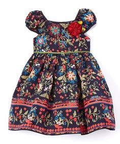 Look what I found on #zulily! Navy Floral Cap-Sleeve Dress & Bloomers - Infant, Toddler & Girls #zulilyfinds