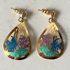 Gold plated and enameled dangling earrings pear shape with push backs Lot 133