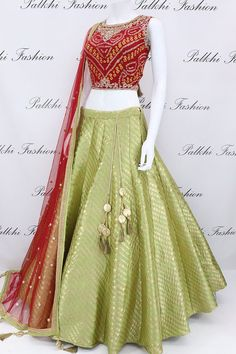 Mehendi Green/Maroon Silk Lehenga Set With Pure Bandhani Blouse Lehenga Choli Designs, Lehenga Designs Latest, Wedding Lehenga Designs, Indian Lehenga, Half Saree Lehenga, Silk Lehenga, Indian Gowns, Anarkali, Indian Wear