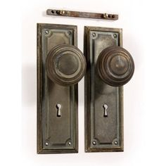 SOLD Antique Brass Arts & Crafts Door Hardware Set with Knobs & Plates