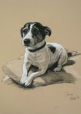 Jack Russell Terrier dog LE charcoal print ready to frame 'Smiler' by H Irvine