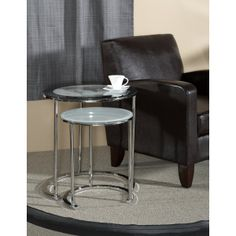 FurnitureMaxx.com Chrome Metal and Glass Nesting Side Table With World Map : Nesting Tables