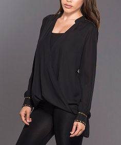 Another great find on #zulily! Black & Gold Stud Surplice Top #zulilyfinds