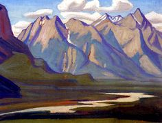 "Lawren Harris ""Athabaska at Jasper"", 1924 Group Of Seven Artists, Group Of Seven Paintings, Canadian Painters, Canadian Artists, Landscape Art, Landscape Paintings, Impressionist Landscape, Rockwell Kent, Ontario"