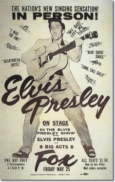 Poster for Elvis Presley Concert at the Fox Theater Detroit MI May 25 1956 Elvis Presley Posters, Elvis Presley Concerts, Elvis Presley Records, Elvis Presley Photos, Rockabilly, Rock And Roll, Rock Posters, Band Posters, Event Posters