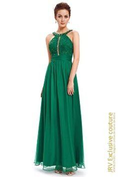 Rochie eleganta cu bretele, confectionata din voal fin de culoare verde, accesorizata cu broderie si pietricele decorative spectaculoase.