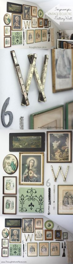 Thoughts from Alice: Vintage Eclectic Gallery Wall - creating a gallery wall doesn't have to be difficult or take a long time! Come read how this one was created in an afternoon!