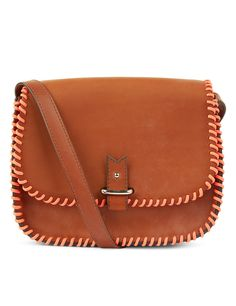 La Contrie Tan Fluro Pink Stitch Rohan Bag