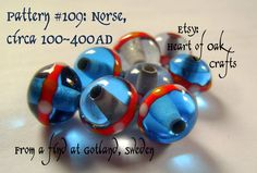 Bead Pattern 109: Blue Viking bead with red by heartofoakcrafts