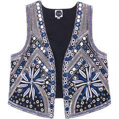 GLAW Mirror Gemstone Blue // Embroidered vest ($395) ❤ liked on Polyvore featuring outerwear, vests, vest waistcoat, embroidered vest, sequin vest, blue vest and slim fit vest