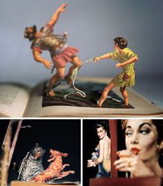 Artist Thomas Allen uses a unique approach to celebrate the unforgettable art of the pulp novel: he turns the cover characters into the stars of their own tiny, dramatic dioramas.