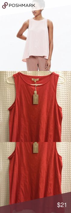 Madewell forward seam Slub tank in bright brick L NWT, A so soft tank top in textural Slub cotton. Garment dyed for a cool dimensional color, this forward seam top has a swingy elliptical hem (hi low style). 100% cotton, size large Madewell Tops Tank Tops