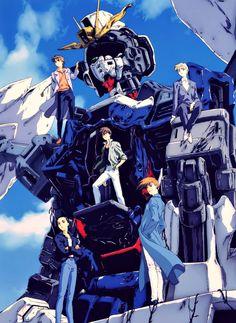 Gundam Wing, XXXG-00W0 Wing Zero Custom. Gundam pilots Heero Yuy, Duo Maxwell, Trowa Barton, Quatre Raberba Winner, & Chang Wufei.