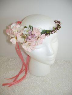 PINK CHERRY BLOSSOM Wedding Flower Crown Head Wreath, Berries, Vine, Bridal Wreath Headpiece