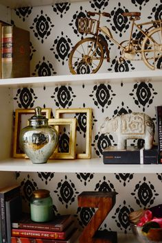 bookcase interior stenciled with a graphic black Ikat design Ikea Billy Bookcase, Bookshelves, Bookshelf Diy, Barrister Bookcase, Bookshelf Design, Bookcase Styling, Shelving Systems, Home Decor Inspiration, Decor Ideas