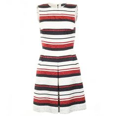 Dolce & Gabbana White & Black & Red Cotton Striped Brocade Dress (44.970 RUB) ❤ liked on Polyvore featuring dresses, red white and black dress, sleeveless dress, red striped dress, black white stripe dress and black and white striped dress