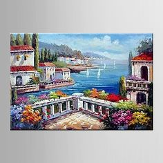 Oil+Painting+Garden+Scenery+Hand+Painted+Canvas+with+Stretched+Framed+–+USD+$+42.49