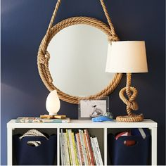 If you're looking for an original piece to anchor your décor, look no further than our Top Rope Mirror. Its rugged rope frame and large viewing surface make it perfect for any bedroom. Rope Frame, Rope Mirror, Over The Door Mirror, Mirror Door, Kids Mirrors, Cube Storage, Storage Bins, Kid Spaces, Kids Decor