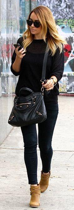 Lauren Conrad : black sunglasses, black sweater, black pants, black Balenciaga bag & tan ankle boots