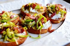 Bruschetta with Leeks, Goat Cheese, and Bacon. Absolutely delicious!