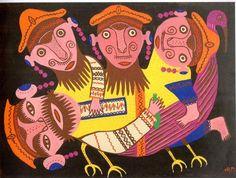 """""""Quatro bêbados em cima de um pássaro"""", de Maria Primachenko, 1976"""