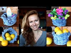 (16) DIY recycling - How to make basket from old jeans - YouTube