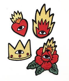 4 signature patches featuring (Crown, Flaming Rose, Flaming Heart and Classic Flame) Iron-on patches Aprox. in X 3 in) Simple Canvas Paintings, Small Canvas Art, Diy Canvas, Traditional Tattoo Old School, Traditional Tattoo Design, Skateboard Design, Time Tattoos, Posca, Disney Fan Art