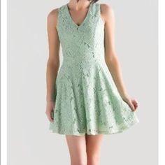 Francesca's Mint Lace Dress Adorable dress, only worn once to a shower! Francesca's Collections Dresses Mini