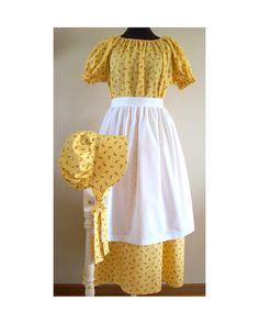 PIONEER DRESS Girls L 14 16 Womens XS S Bonnet Apron Colonial Prairie Costume Ready to Ship