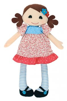 Adorable Hannah rag doll by Tiger Tribe!  Hand-crafted rag doll made from lovely soft cottons with gorgeous little dress and stockings.  Packaged in a stylish gift box making the perfect gift for a little girl!  Little Boo-Teek - Tiger Tribe Online | Girls Gifts Online | Girls Rag Dolls Online