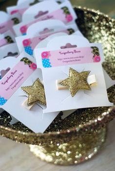 Golden Birthday Party golden star hair clips