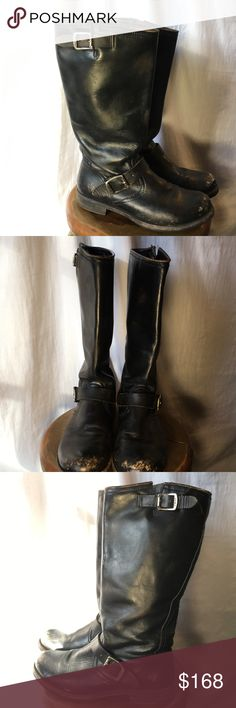 Frye Veronica Slouch Boots 8.5 Frye Veronica Slouch Boots 8.5. Black. Nicely Distressed, but in overall great Condition. I think these are way cooler distressed. They're just a 1/2 size too big. But I love them. Want to get some Frye's (maybe a different style) in my size once I sell these. Comes with the box. Frye Shoes Combat & Moto Boots
