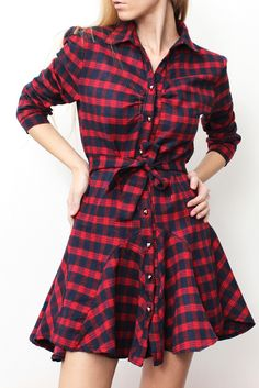 Checked Print Lace-Up Stylish Turn-Down Collar Long Sleeve Women's Dress