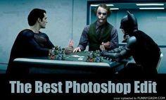 Man of Steel, Batman, and Joker. Poker.