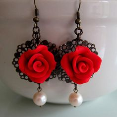 Red Rose Filigree Earrings Polymer Clay by beadscraftz on Etsy