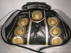 1980s Black Leather Shoulder Bag With Gold Metallic Accents by GoodBuyForNow on Etsy