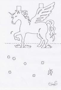 pop-up Licorne ailée,elf - cartes postales pop-up kirigami