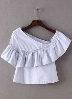 Stylish Skew Collar Ruffled Striped Crop Top For Women Kids Blouse Designs, Collar Styles, Fashion Seasons, Dress Patterns, Fashion Dresses, Fashion Clothes, T Shirts For Women, Fashion Tips, Men Fashion