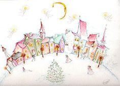 """Christmas Eve"" original watercolor illustration from artist Marina Sciascia (USA)"