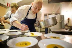Our Chef de Cuisine, Oula Hänninen with Tomi Koivula and pumpkin soup.