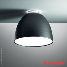 """The Nur ceiling by Artemide in aluminum body in gray -on sale for $295.00! Originally $86.00 21"""" diameter with a screw base for LED retrofit lamps - It's a deal!  www.illuminc.com"""