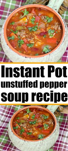 Instant Pot stuffed pepper soup can be made with ground beef or sausage and is full of flavor! Try this unstuffed pepper soup tonight. #instantpotsoup #stuffedpeppersoup #unstuffedpeppersoup #instantpotstuffedpeppersoup Fall Soup Recipes, Vegetable Soup Recipes, Healthy Soup Recipes, Delicious Recipes, Salad Recipes, Cooking Recipes For Dinner, Pressure Cooking Recipes, Onion Recipes, Sausage Recipes