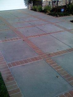 Concrete Driveway with brick detail